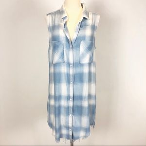 Anthro Cloth & Stone Chambray Plaid Tunic Dress